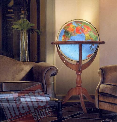 immagine di globo geografico globo geografico Elegante globo geografico gigante, luminoso, fisico e politico - con base a culla, fusto tornito e treppiede da terra in legno di noce - diametro 50 cm (altezza 115 cm)