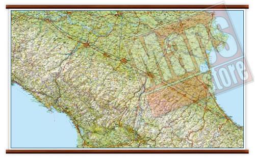 Cartina Topografica Emilia Romagna.Mappa Murale Emilia Romagna Mappa Murale Plastificata Con Eleganti Aste In Legno Cartografia Dettagliata Ed Aggiornata 119 X 72 Cm