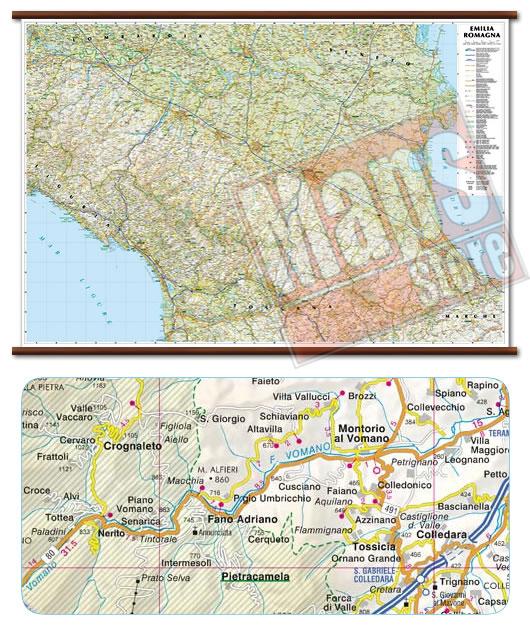 immagine di mappa murale mappa murale Emilia Romagna - mappa murale plastificata con eleganti aste in legno, scrivibile e lavabile - cartografia dettagliata ed aggiornata - 119 x 72 cm