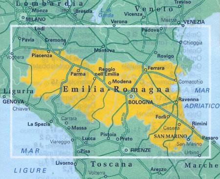 immagine di mappa stradale regionale mappa stradale regionale Emilia Romagna - mappa stradale - con distanze stradali, percorsi panoramici - nuova edizione