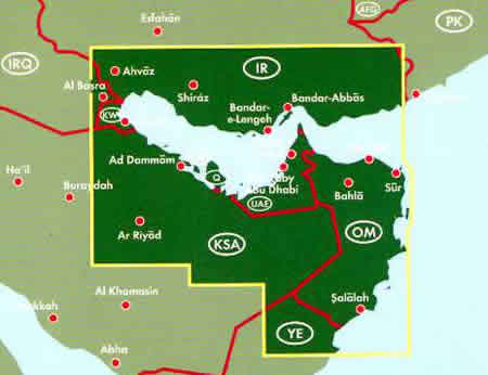 immagine di mappa stradale mappa stradale Emirati Arabi / UAE, Golfo Persico, Qatar, Bahrain, Kuwait, Oman, Sud dell'Iran, SudEst dell'Arabia Saudita - con Abu Dhabi, Dubai, Al-Ain, Sharjah, Fujairah, Doha, Riyad, Al Kharj, Ad Dammam, Al Manama, Sur, Bahla, Salalah