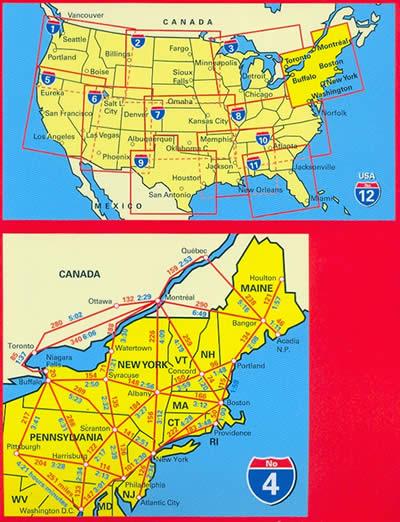 immagine di mappa stradale mappa stradale n.4 - New England, Atlantic NorthEast - con New York, Washington DC, Philadelphia, Atlantic City, Boston, Providence, Acadia, Cape Cod, Maine, Pennsylvania - con cartografia aggiornata, dettagliata e facile da leggere + guida stradale - edizione 2019