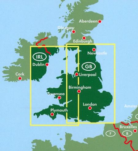immagine di mappa stradale mappa stradale England, Wales / Inghilterra, Galles, Cornovaglia - con London/Londra, Birmingham, Liverpool, Newcastle, Swansea, Plymouth, Dublino (Irlanda)
