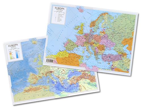 immagine di mappa scolastica mappa scolastica Europa - Fisica e Politica - mappa plastificata 29,5 x 42 cm