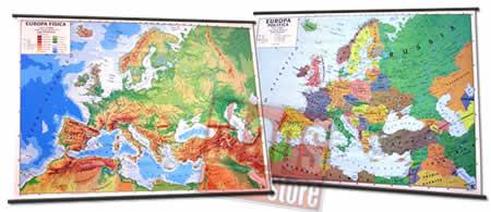immagine di mappa murale mappa murale Europa -  mappa murale fisica e politica (stampata fronte-retro) con aste - 131 x 100 cm