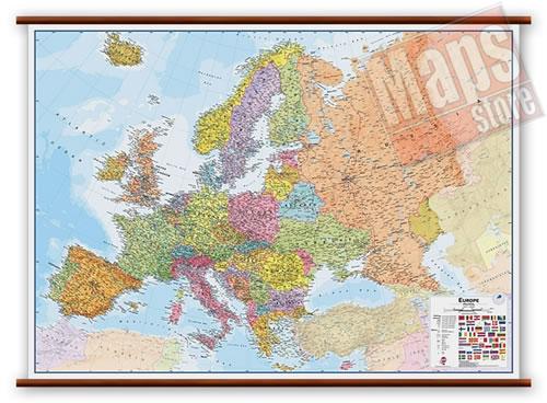 immagine di mappa murale mappa murale Europa - mappa murale politica e fisica - plastificata, laminata lucida, scrivibile e lavabile, con eleganti aste in legno e ganci in acciaio - cartografia aggiornata e molto dettagliata - 175 x 125 cm - nuova edizione