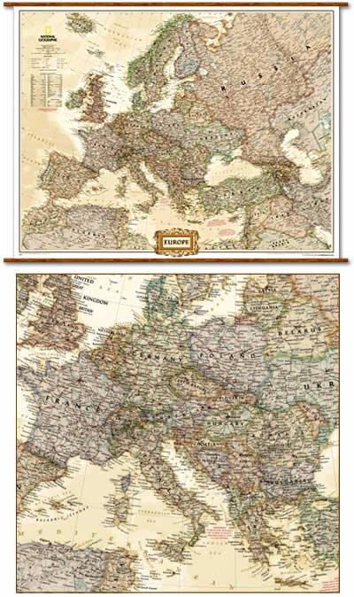 immagine di mappa murale mappa murale Europa Politica in stile Antico con Stati moderni, plastificata e laminata - 120 x 90 cm