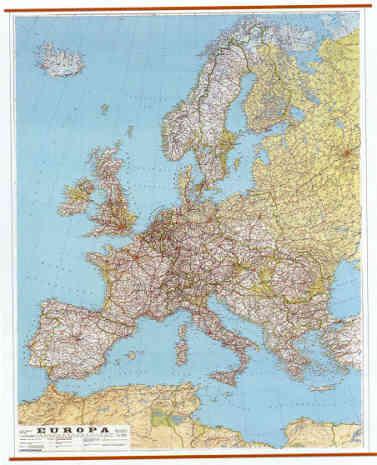 Cartina Stradale D Europa.Mappa Murale Europa Stradale Plastificata Con Aste