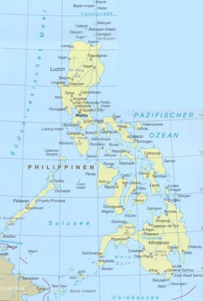 immagine di mappa stradale mappa stradale Filippine - Isole delle Filippine con Manila, Luzon, Palawan, Mindanao - Mappa Plastificata