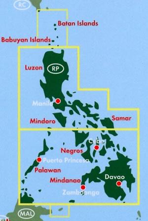 immagine di mappa stradale mappa stradale Filippine / Philippines - con Quezon City, Manila, Caloocan, Davao, Cebu, Zamboanga, Antipolo, Pasig, Taguig, Valenzuela