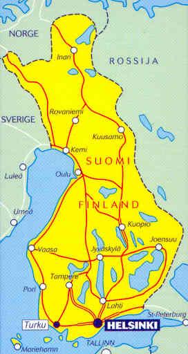 immagine di mappa stradale mappa stradale 754 - Finlandia