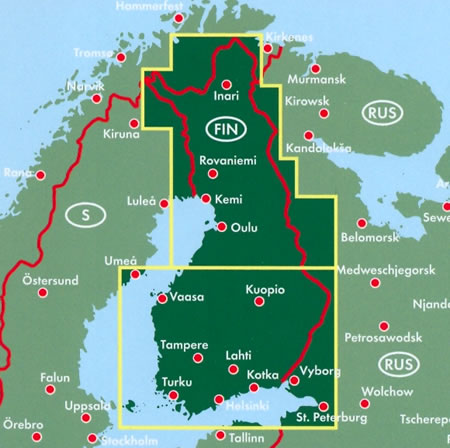 immagine di mappa stradale mappa stradale Finlandia - con Helsinki, Espoo, Tampere, Vantaa, Turku, Oulu, Jyväskylä, Lahti, Kuopio, Kouvola, Pori, Joensuu, Lappeenranta, Hämeenlinna, Rovaniemi, Vaasa, Seinäjoki, Salo, Kotka, Mikkeli - edizione 2017