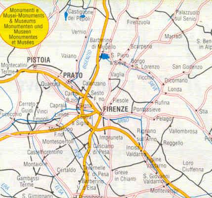 mappa stradale provinciale Firenze, Fiesole, Bagno a Ripoli ...