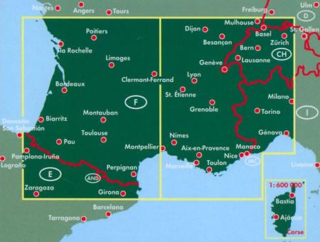 immagine di mappa stradale mappa stradale Francia Sud e Corsica