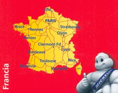 immagine di mappa stradale mappa stradale n.721 - Francia / France - mappa stradale con distanze e tempi di percorrenza