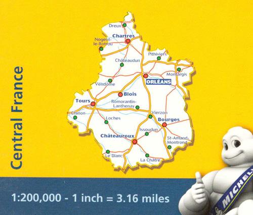 immagine di mappa stradale mappa stradale n. 518 - Francia centrale - con Orlèans, Montargis, Pithiviers, Châteaudun, Chartres, Dreux, Nogent-le-Rotrou, Vendôme, Blois, Romorantin-Lanthenay, Tours, Chinon, Loches, Vierzon, Issoudun, Le Blanc, La Châtre, Châteauroux, Saint-Amand-Montrond, Bourges, Cosne-Cours-sur-Loire - mappa stradale con stazioni di servizio e autovelox - nuova edizione