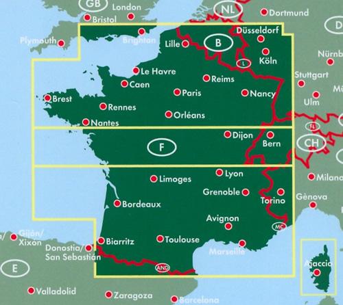 Nantes Cartina Francia.Mappa Stradale Francia Con Paris Parigi Reims Nancy Lille Le