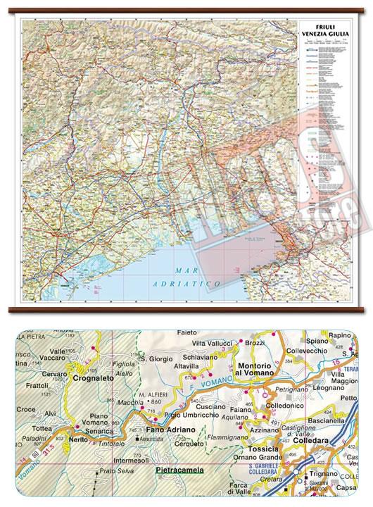immagine di mappa murale mappa murale Friuli Venezia Giulia - mappa murale plastificata con eleganti aste in legno, scrivibile e lavabile - cartografia dettagliata ed aggiornata - 72 x 63 cm