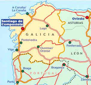 Spagna Galizia Cartina.Mappa Stradale N 571 Galicia Galizia Con Santiago De Compostela La Corugna Vigo Lugo Pontevedra Ourense