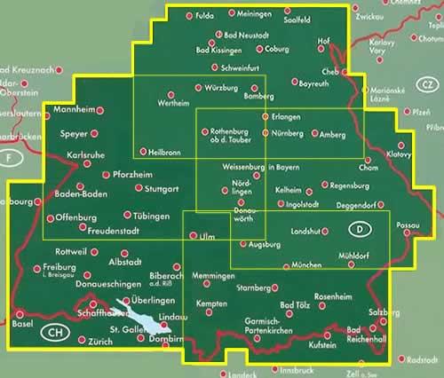 Cartina Germania Del Sud.Mappa Stradale Germania Sud Con Baviera E Baden Wurttemberg Monaco Ulm Set Di 3 Mappe Stradali