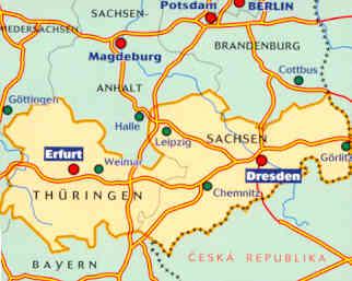 immagine di mappa stradale mappa stradale n.544 - Germania Centro-Est - con Thuringen, Sachsen