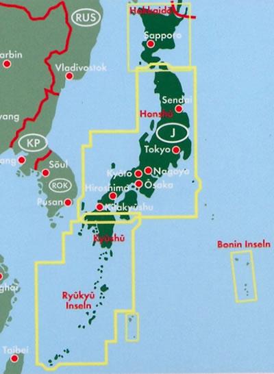 immagine di mappa stradale mappa stradale Giappone / Japan - con Tokyo, Yokohama, Osaka, Nagoya, Sapporo