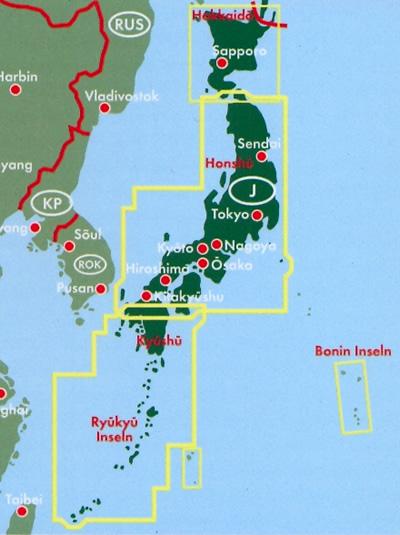 immagine di mappa stradale mappa stradale Giappone / Japan - con Tokyo, Yokohama, Osaka, Nagoya, Sapporo, Hokkaido, Honshu, Shikoku, Kyushu, Ryukyu, Okinawa, Bonin - edizione 2019