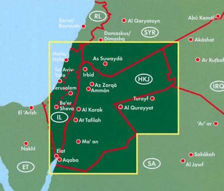immagine di mappa stradale mappa stradale Giordania - con Amman, Irbid, Zarqa, Aqaba, Al-Salt, Madaba, Jerash/Gerasa, Ma'an, Karak,Ra's al-Naqb - edizione 2013