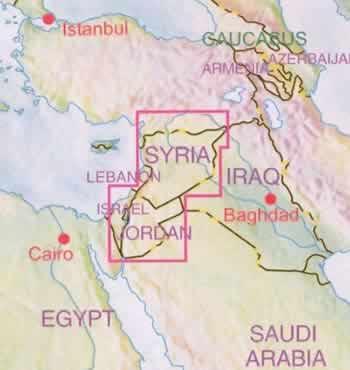immagine di mappa stradale mappa stradale Giordania e Siria