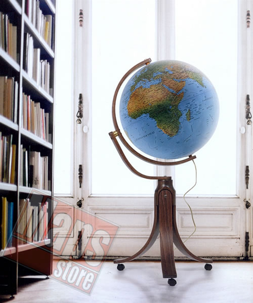 immagine di globo geografico globo geografico Globo geografico gigante e luminoso - con cartografia fisico-politica, base a treppiede in legno - diametro 50 cm (altezza 105 cm)