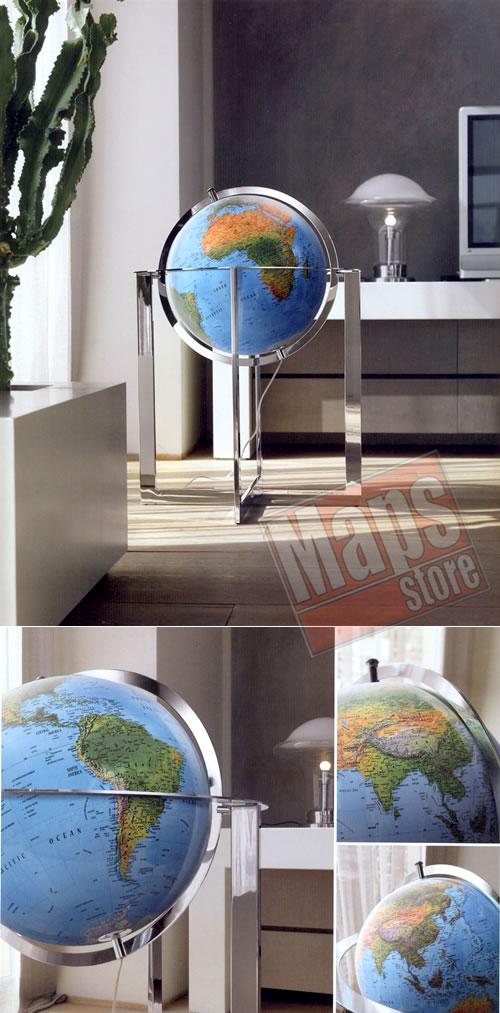 immagine di globo geografico globo geografico Globo geografico gigante, luminoso - con cartografia fisica/politica, elegante complemento d'arredo con piedistallo in acciaio - diametro 50 cm (altezza 100 cm)