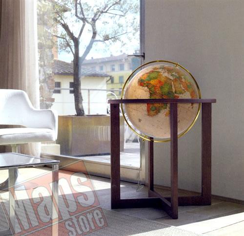 immagine di globo geografico globo geografico Globo geografico gigante, luminoso, in stile antico - elegante design, con moderno piedistallo da terra in legno di frassino - diametro 50 cm (altezza 105 cm)