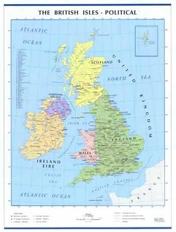 immagine di mappa murale mappa murale Gran Bretagna e Irlanda - fisica e politica, plastificata con aste - 92 x 140 cm