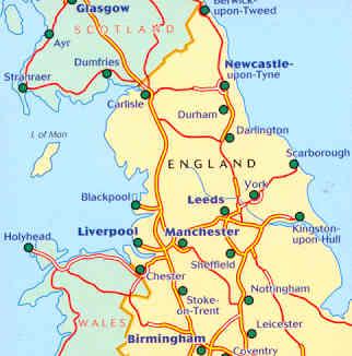 immagine di mappa stradale mappa stradale n.502 - Gran Bretagna - Northern England, The Midlands