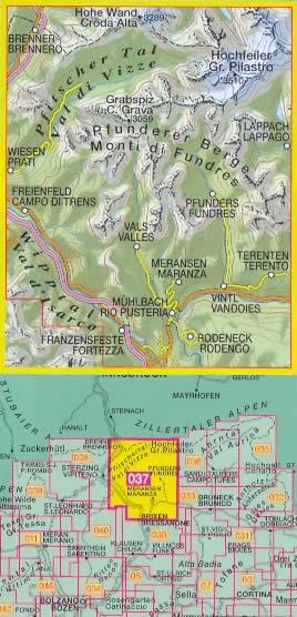 immagine di mappa topografica mappa topografica n.037 - Gran Pilastro, Monti di Fundres / Hochfeiler, Pfunderer Berge - Val di Vizze/Pfitscher Tal, Valles, Maranza, Terento, Vandoies, Rodengo, Rio Pusteria, Val d'Isarco, Campo di Trens, Brennero, C. Grava, Lappago - compatibile con GPS