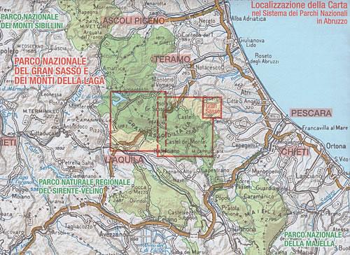 immagine di mappa topografica mappa topografica Gran Sasso d'Italia - carta dei sentieri - con rifugi, percorsi CAI numerati, cascate, sorgenti, grotte - nuova edizione