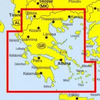 immagine di mappa stradale mappa stradale Grecia - con Costa Ionica ed Egea, Atene, Salonicco, Milos, Mikonos