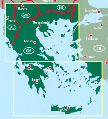 immagine di mappa stradale mappa stradale Grecia - con tutte le isole, costa Ionica ed Egea, Atene, Attica, Salonicco, Patrasso, Pireo, Candia, Peristeri, Larissa, Volo, Kallithea, Nikaia, isole del golfo Saronico e Argolico, Cicladi, Mykonos, Paros, Naxos, Santorini, Dodecaneso, Kos, Samos, Rodi, Sporadi, Creta, Isole Ionie, Corfu, Cefalonia, Itaca, Zante - con luoghi panoramici, parchi, riserve naturali, siti archeologici, linee marittime e campeggi - edizione 2019