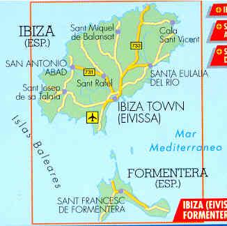 Cartina Geografica Spagna E Formentera.Mappa Stradale Ibiza Formentera