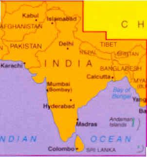 immagine di mappa stradale mappa stradale Indian Subcontinent, Afghanistan, Pakistan, Nepal, Bangladesh, Bhutan, Birmania (Myanmar)