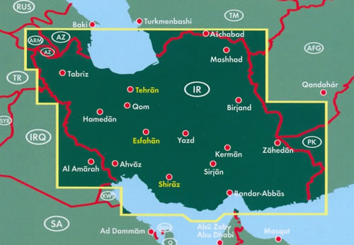 immagine di mappa stradale mappa stradale Iran - con Tehran, Mashhad, Esfahan, Tabriz, Karaj, Shiraz, Ahvaz, Qom, Kermanshah, Urmia - edizione 2019