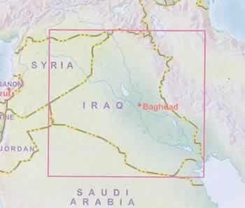 immagine di mappa stradale mappa stradale Iraq - con Baghdad