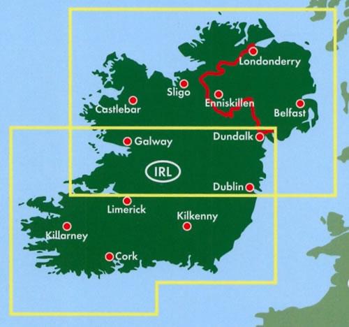 immagine di mappa stradale mappa stradale Irlanda - con Dublin/Dublino, Cork, Galway, Tallaght, Blanchardstown, Limerick, Waterford, Clondalkin, Lucan, Swords, Dundalk, Drogheda, Blackrock, Bray, Dún Laoghaire, Firhouse, Castleknock, Tralee, Ennis, Naas, Douglas, Dundrum, Sligo, Templeogue, Rathfarnham, Killarney, Kilkenny, Castlebar, Belfast, Londonderry