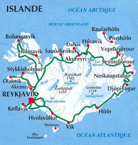 immagine di mappa stradale mappa stradale Islanda / Iceland / Islande