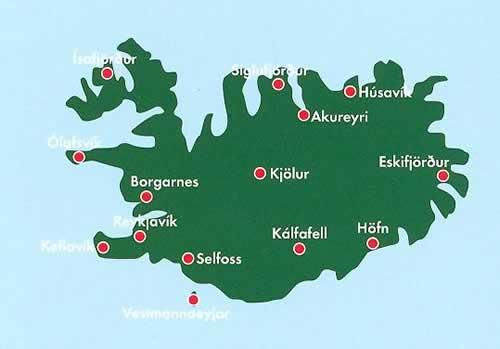 immagine di mappa stradale mappa stradale Islanda - con Reykjavik, Kalfafell, Akureyri, Selfoss