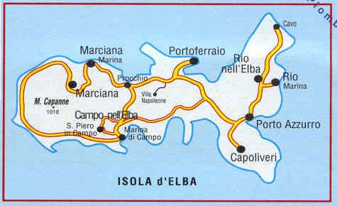 Cartina Geografica Isola D Elba.Mappa Topografica Isola D Elba Con Sentieri Cai E