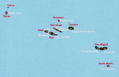 immagine di mappa stradale mappa stradale Isole Azzorre - con Corvo, Flores, Graciosa, Terceira, Sao Jorge, Faial, Pico, Sao Miguel, Santa Maria - edizione 2013