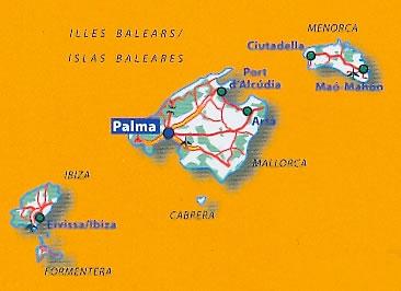 immagine di mappa stradale mappa stradale n.579 - Isole Baleari / Balears / Baleares (Spagna) - con Maiorca / Mallorca, Palma, Ibiza / Eivissa, Formentera, Menorca, Cabrera