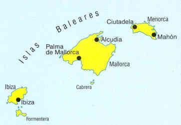 immagine di mappa stradale mappa stradale Isole Baleari, Maiorca / Mallorca, Minorca, Ibiza, Formentera, Palma de Maiorca