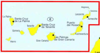 immagine di mappa stradale mappa stradale Isole Canarie, Tenerife, Gran Canaria, Fuerteventura, Lanzarote, Gomera, La Palma, Hierro